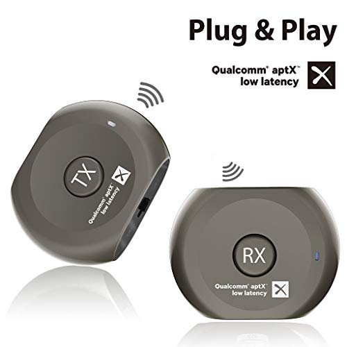 (Avantree aptX Low Latency Wireless Transmitter and Receiver Set, Bluetooth Audio Adapter, Portable, for TV, Headphones, Speakers, Camera, etc, Plug & Play, No Delay, 3.5mm AUX & RCA - Lock )