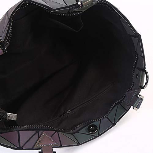 Tracolla Della Per Delle Borsa Maniglia Donne Borse Di Geometrico Daypack Bag Morbida Pu Pacchetto In Capacità Grande Pelle Signore A Nero Le Tote 4qz7zv