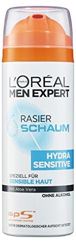 L'Oreal Men Expert Hydra Sensitiv Rasierschaum für empfindliche Haut, schützt mit Aloe Vera vor Hautirritationen, ohne Alkohol (6 x 200 ml)