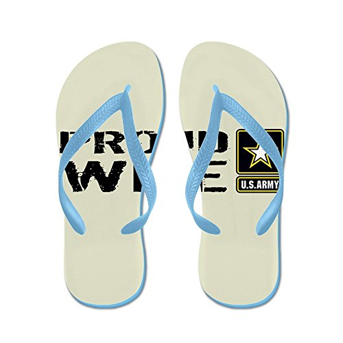 CafePress U.S. Army: Proud Wife (Sand) - Flip Flops, Funny Thong Sandals, Beach Sandals Caribbean Blue