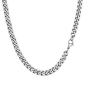 PROSTEEL Men Sturdy Cuban Chain, 3/6/9/12mm, 14″ 18″ 20″ 22″ 24″ 26″ 28″ 30″ Length, 18K Gold Tone/316L Stainless Steel/Black (Send Gift Box)
