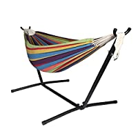 Unionline Double 2 People Outdoor Rainbow Fabric Hammock with Space-Saving St...