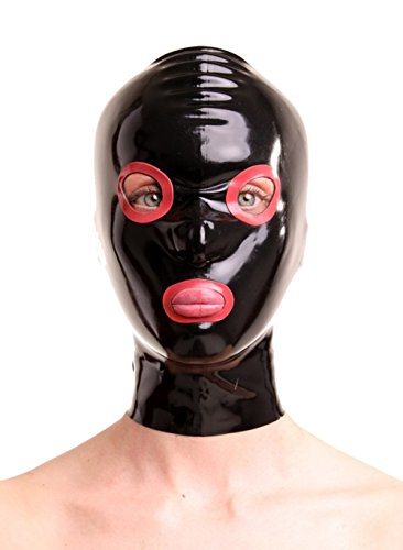 EXLATEX Rubber Latex Hood Mash with Contrast Colour Around Eyes and Mouth Open with Nostril (Medium, Black)