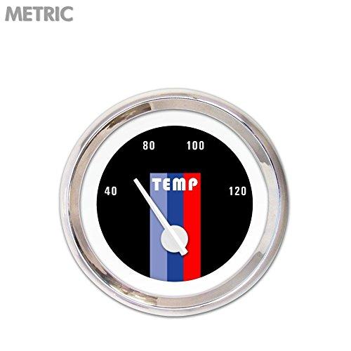 White Modern Needles, Chrome Trim Rings, Style Kit Installed Aurora Instruments 5142 Vintage Autobahn Black Metric Water Temperature Gauge