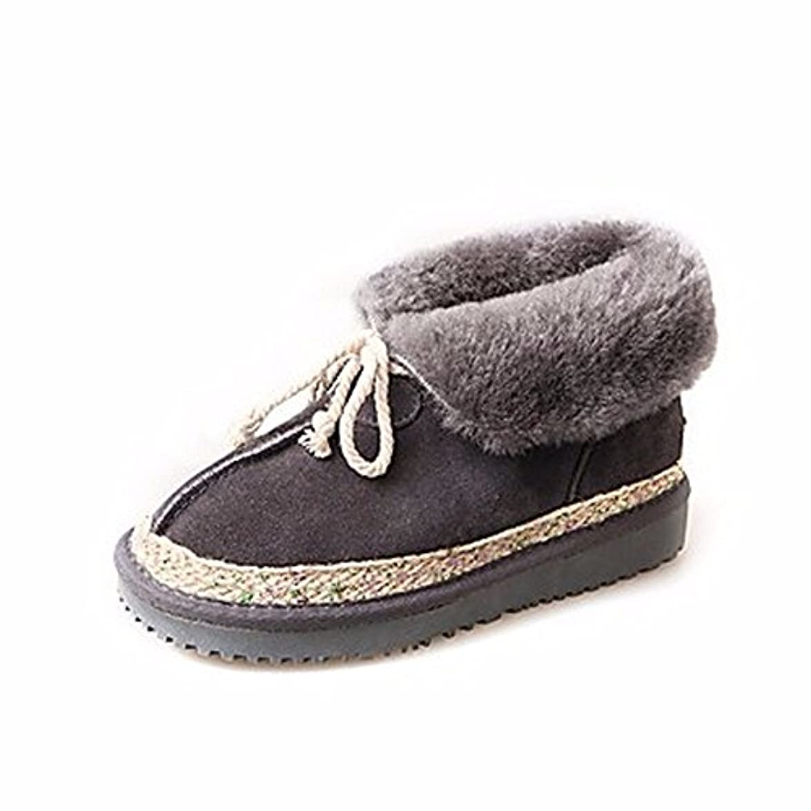 Grigio Party Casual Nero Piatto Per Stivali Lace Scarpe amp; Winter Donna Sera Snow Toe Up Round Zhudj Boots Tacco