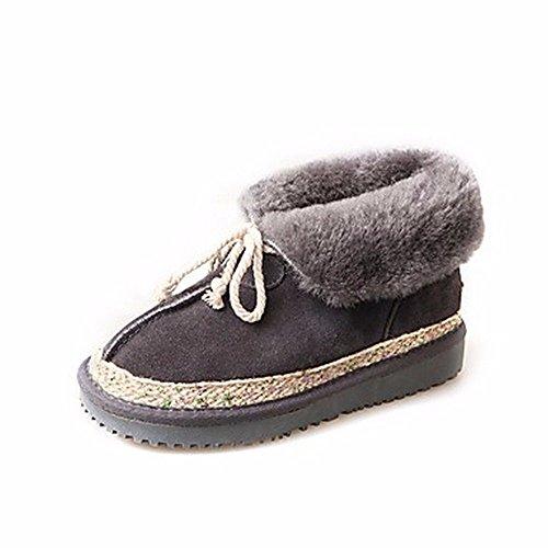 ZHUDJ Damen Schuhe Winter Stiefel Absatz Round Toe Lace-Up Für Ungezwungene Party & Abend Grau Schwarz Gray