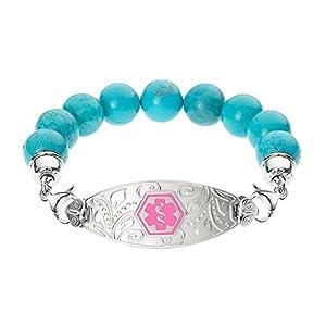 Divoti Deep Custom Laser Engraved Lovely Filigree Medical Alert Bracelet -Blue Turquoise Bead-Pink