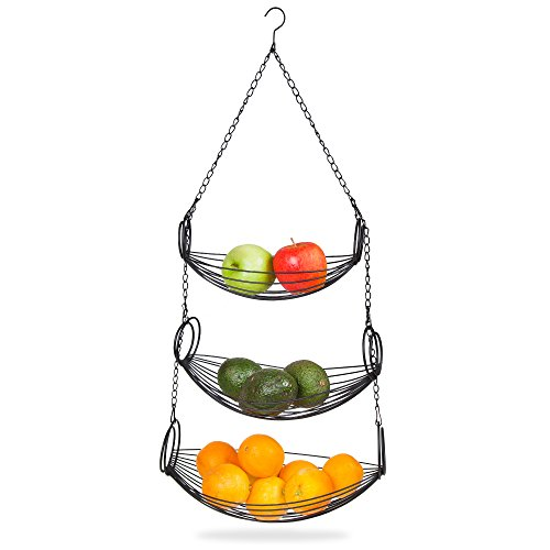 Home Intuition 3-Tier Hanging Basket Heavy Duty Wire, Oval (Black)
