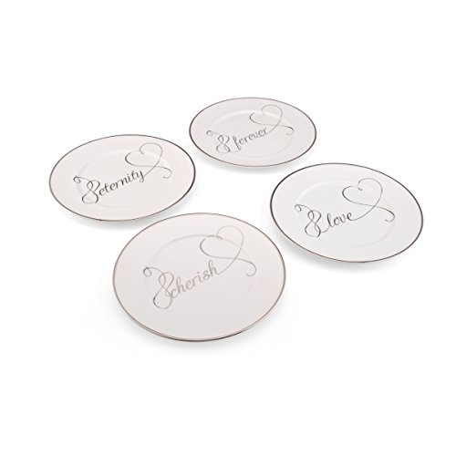 Mikasa Love Story Sentiment Appetizer Plates, 7.25-Inch, Set of 4