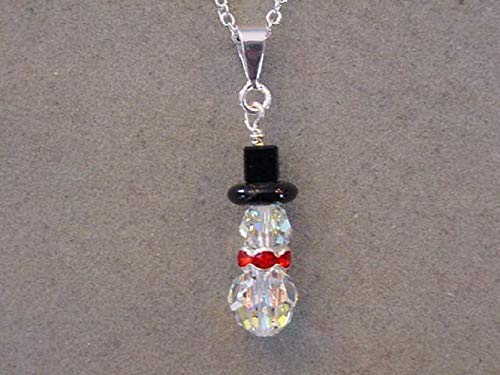 - Silver Swarovski Crystal SNOWMAN NECKLACE Christmas Jewelry Silver plated Snowman Pendant Necklace