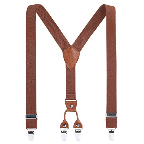 Children Suspenders Elastic Adult Braces Solid Color Striped Y Shape 4 Strong Clips Braces 4 Size for Child to Adult