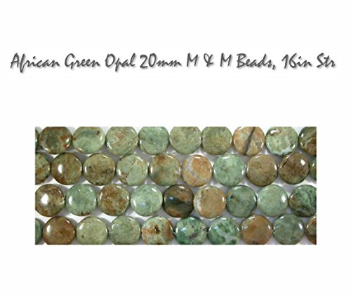 Natural African Green Opal 20mm M & M Gemstone Beads, 16 inch strand for Jewelry Making Green Turquoise Beads