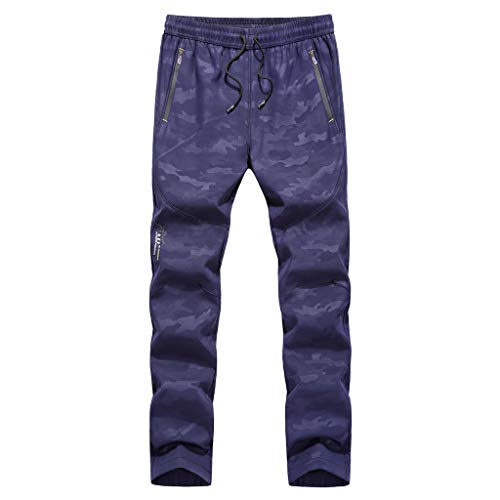 TANLANG♥New Men's Outdoors Quick-Drying Thickened Casual Waterproof Quick-Drying Loose Sport Pants Sweatpants Trousers Blue