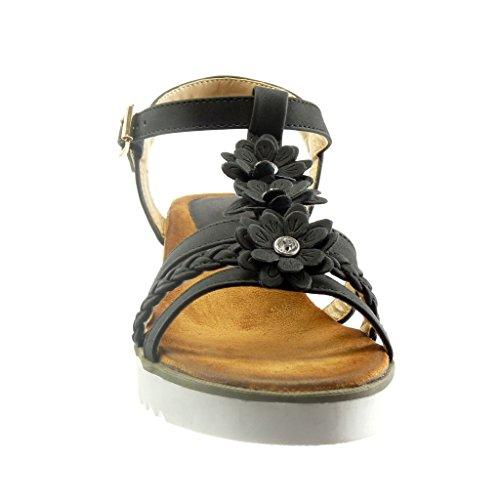 Angkorly - Scarpe da Moda sandali Espadrillas cinturino zeppe aperto donna fiori strass corda Tacco zeppa piattaforma 4.5 CM - Nero