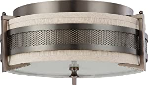Nuvo Lighting 60/4436 Three Light Diesel Medium Flush with Khaki Fabric Shade/Cream Diffuser, Hazel Bronze