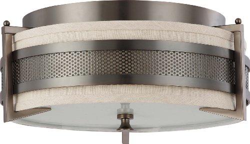 Nuvo Lighting 60/4436 Three Light Diesel Medium Flush with Khaki Fabric Shade/Cream Diffuser, Hazel Bronze ()