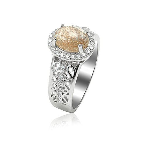 - Blue Apple Co. Accent Halo Art Deco Wedding Ring Oval Cut Simulated Druzy Toneen Quartz Round CZ 925 Sterling Silver