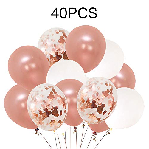 (40pcs Rose Gold Confetti Balloons - 12 Inch Latex Party Balloons Perfect for Party Wedding Birthday Decorations,Bridal Shower,Baby Shower, Bachelorette Party,Engagements)