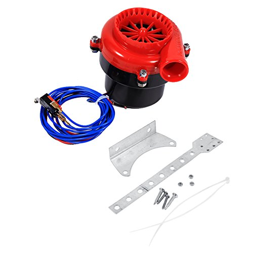 Car Electronic Fake Dump Turbo Valve, Blow Off Hooter Valve Analog Sound BOV Simulator Kit with Mounting Bracket & Mounting Accessories Red