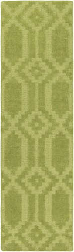 Area Rug, Green Transitional Handmade Wool 3-D Diamonds Carpet, 2'3