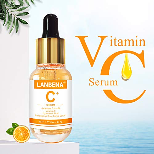 (LANBENA Vitamin C Serum with Hyaluronic Acid for Face and Skin - Japanese Formula - Made with Natural Ingredients | Brighten Skin, Anti Wrinkle, Anti Aging, Fade Age Spots and Sun Damage - 1.37 Fl. oz)
