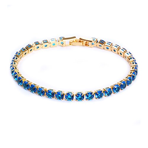 Shoopic AAA Cubic Zircon Tennis Bracelet Crystal Link Hand Chain for Women (Blue 2)