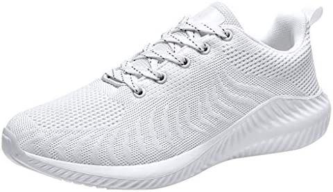 Sneaker Damen Wei/ße Sohle Schn/ürung Klettverschluss Elegant Schuhe Frauen Mesh Atmungsaktiv Outdoor Laufschuhe