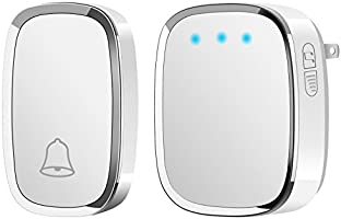Wireless Doorbell, Alierkin Waterproof Door Bell Chime Kit with LED Flash, 1 Transmitter and 1 Plug-in Receiver, 1000 Feet Operating Range, 4 Levels Volume, 36 Melodies to Choose, White
