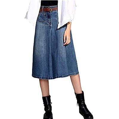 Cresay Women's Modest Knee Length Flared Denim Skirt
