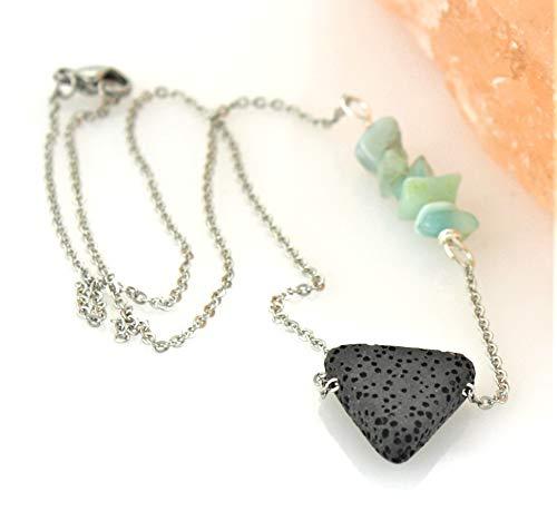 Amazonite Lava Stone Diffuser Necklace (Chips Diffuser Modern)