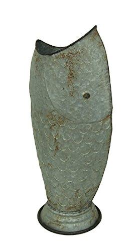 Zeckos Galvanized Metal 25 Inch Tall Rustic Fish Vase ()