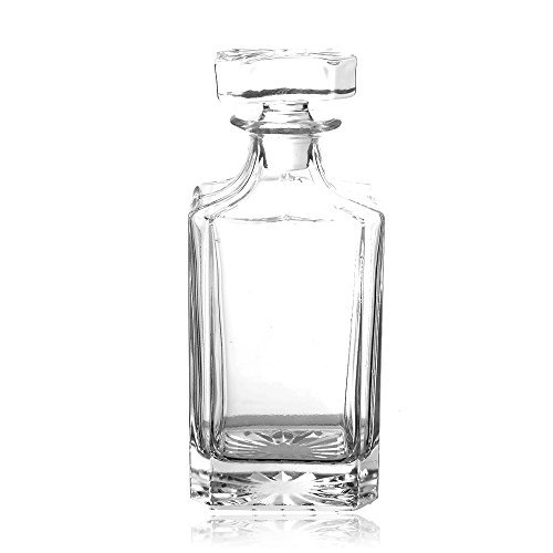 - QUEEN&STONE Square 26oz Crystal Whiskey Decanter with Glass Stopper-Lead Free