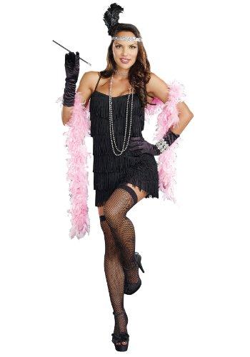 Costume Flapper Fringe Girl (Dreamgirl Women's Flapper Costume, Black, X-Large)