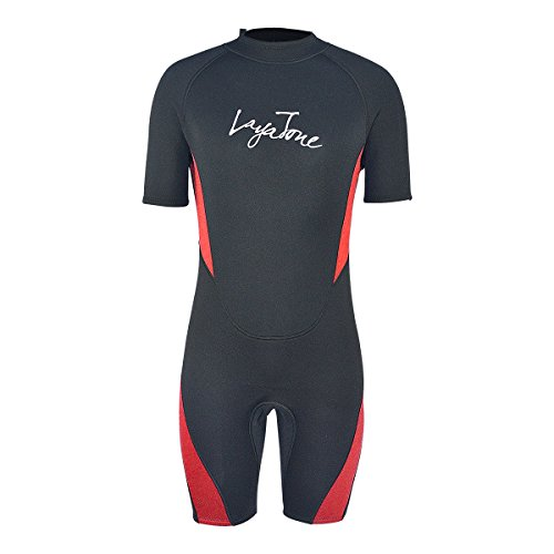 Red Shorty Wetsuit (Layatone Wetsuit Shorty for Men 3mm Neoprene Wetsuits Thick Warm Snorkeling Diving Suits Surfing suit Scuba Diving (Red, Medium))