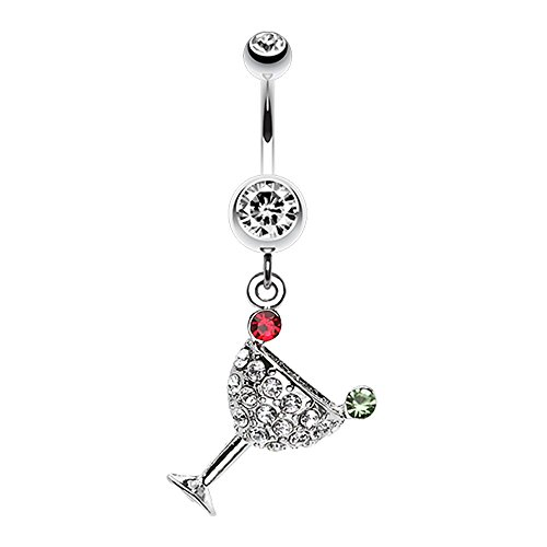Bazooky Sparkling Martini Glass Charm Dangle Belly Button Ring (Pick your Color) - Glass Belly Martini Dangle Ring