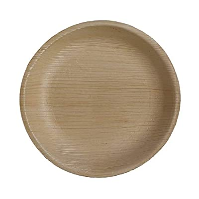 CaterEco Round Palm Leaf Plates Set (Pack of 25) | Appetizer or Dessert Plates | Ecofriendly Disposable Dinnerware | Heavy Duty Biodegradable Party Utensils for Wedding, Camping & More
