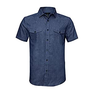 AVANZADA Men's Big & Tall Fort Short Sleeve Denim Shirt Lightweight Chambray ButtonDark Blue