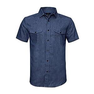 AVANZADA Men's Big & Tall Fort Short Sleeve Denim Shirt Lightweight Chambray ButtonDark Blue XL