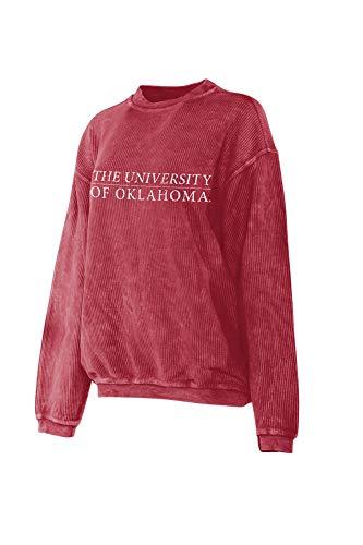Elite Fan Shop Oklahoma Sooners Women's Corded Crew Pullover Sweatshirt - S - Crimson (Oklahoma Crew Sweatshirt)