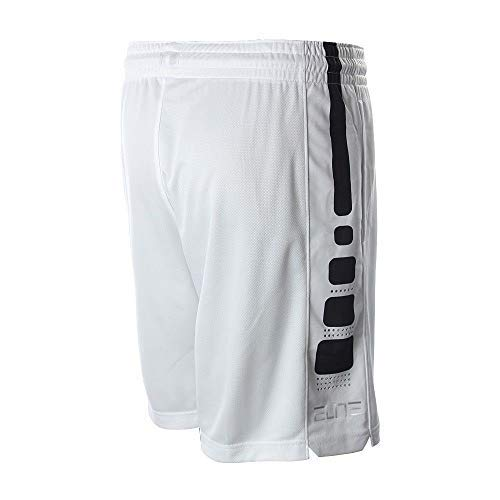 Nike Boys Elite Basketball Short (White/Black, Large)