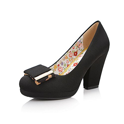 VogueZone009 Womens Round Toe High Heels Fabric Cotton Solid Pumps with Platform and Metal Piece, Black, 4.5 UK