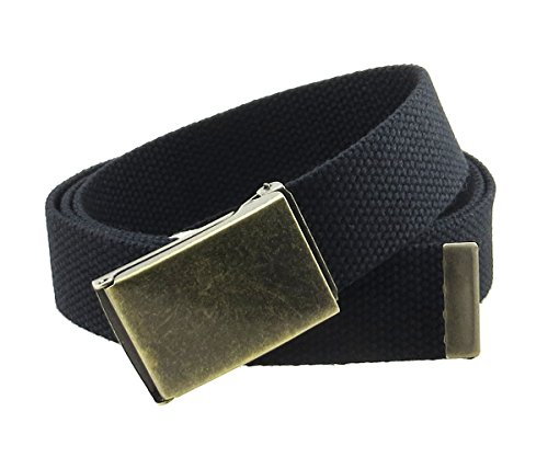 (Canvas Web Belt Flip-Top Antique Brass Buckle/Tip Solid Color 50
