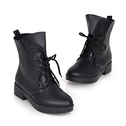 Square Black Boots Womens Heels Imitated Platform Leather 1TO9 Bandage 0WEqwzxq8
