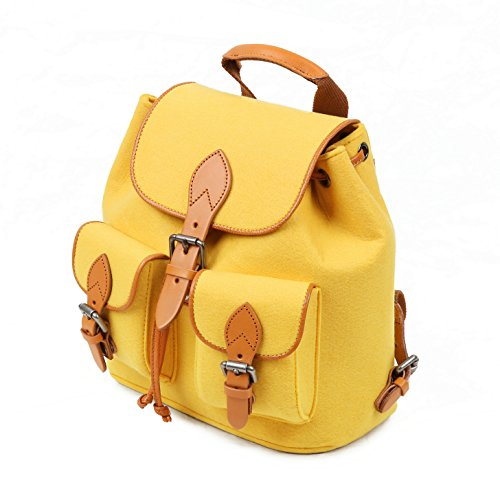 Yellow Bag Style Travel Backpack TOPHOME Wool New School Girl S Felt Bag Daily BOfq7wp