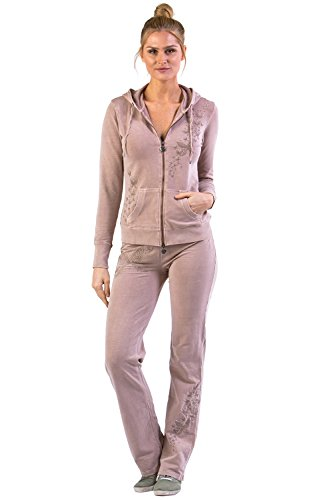 Vertigo Paris Women's Embroidered Lounge Tracksuit Jog Set - Butterfly/Bare Pink - Medium