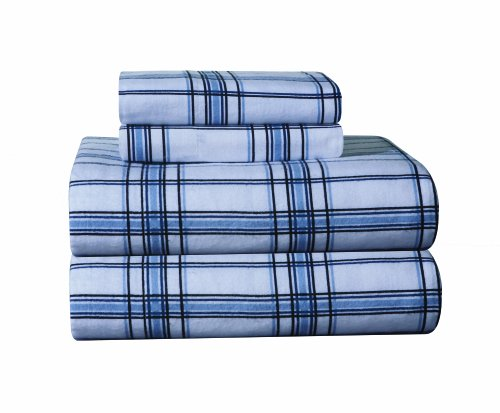 Pointehaven Heavy Weight Printed Flannel Extra Long Sheet Set, Plaid, Blue