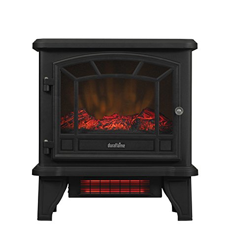 Duraflame DFI-550-22 Freestanding Infrared Quartz Fireplace Stove with Remote Control 1500W, Black (Black Electric Fireplace Heater)