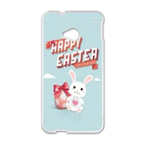 Happy Easter Egg and Bunny Illustration HTC One M7 Cell Phone Case White Exquisite gift (SA_479670)
