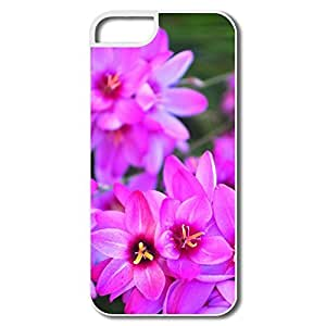 IPhone 5 5S Hard Plastic Cases, Vibrant Flowers White Cover For IPhone 5/5S