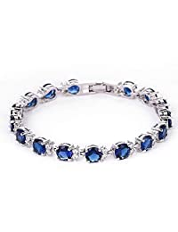 Beauty U❤Fall in Love❤ Classic Silver Blue Bangle Bracelet for Women with Crystals Ideal Wedding Anniversary Birthday Gifts for Her